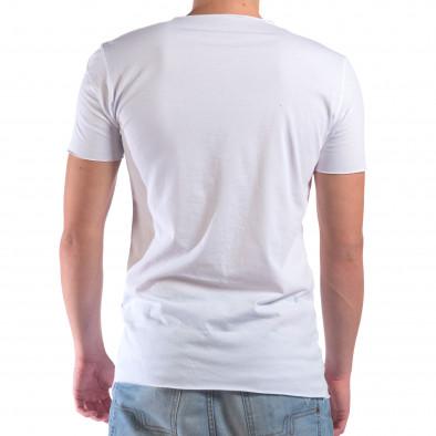 Мъжка бяла тениска с незавършени краища il210616-2 3