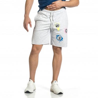 Трикотажни мъжки сиви шорти с принт tr150521-22 2