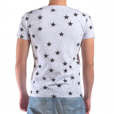 Мъжка бяла тениска със звезди и надписи il210616-15 3