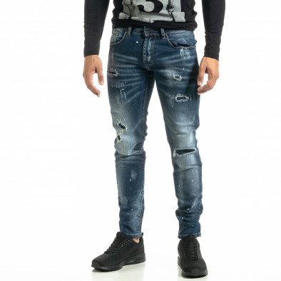 Slim fit Destroyed мъжки сини дънки it020920-16 2