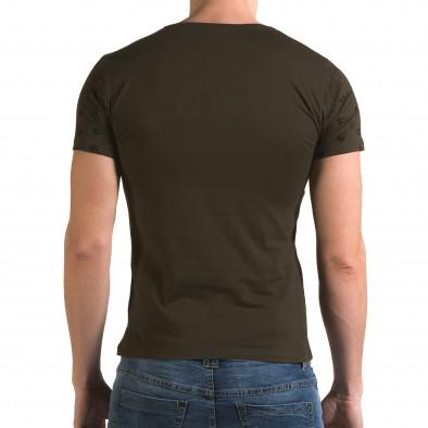Мъжка зелена тениска с флорални мотиви и надпис Lagos 4