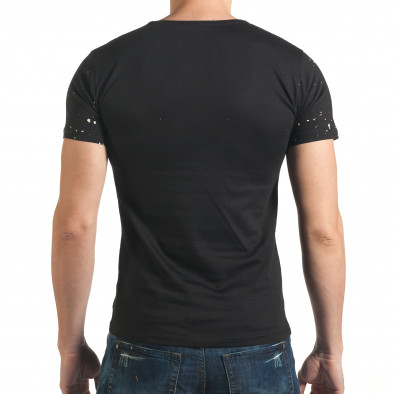 Мъжка черна тениска рокерска с разноцветни пръски боя il140416-62 3