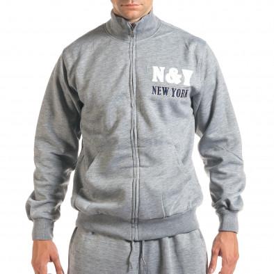 Мъжки светло сив спортен комплект с релефен надпис N&Y it160916-80 4