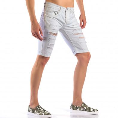 Мъжки бели къси дънки със скъсвания it160616-19 4