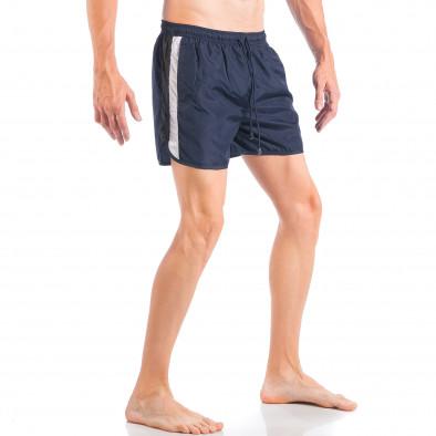Мъжки син бански с двуцветна лента it050618-65 2