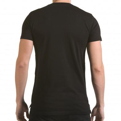 Мъжка черна тениска с метални детайли SAW 4