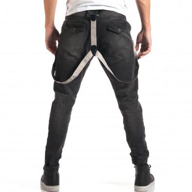 Мъжки сиви дънки със смъкнато дъно и тиранти it160916-20 3