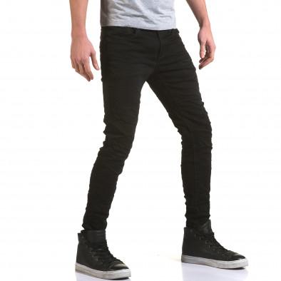 Мъжки черни дънки изчистен модел it090216-10 4