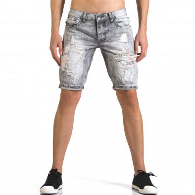 Мъжки светло сиви къси дънки с големи скъсвания it110316-68 2
