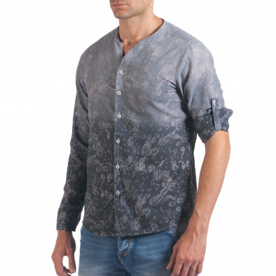 Мъжка сива риза с преливащо оцветяване и фигурална шарка il060616-115 4