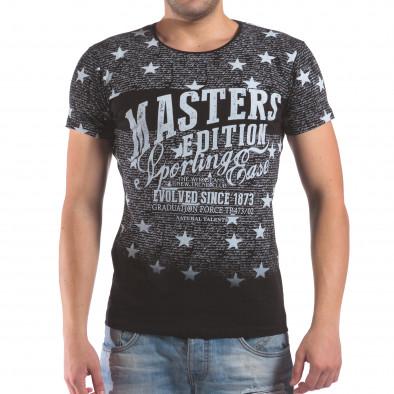 Мъжка черна тениска със звезди и надписи il210616-14 2