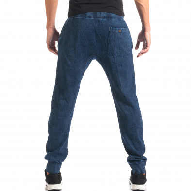 Мъжки сини потури с ефект на дънки и принт it160816-34 3