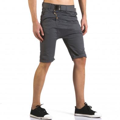 Мъжки сиви къси панталони с колан it110316-44 4