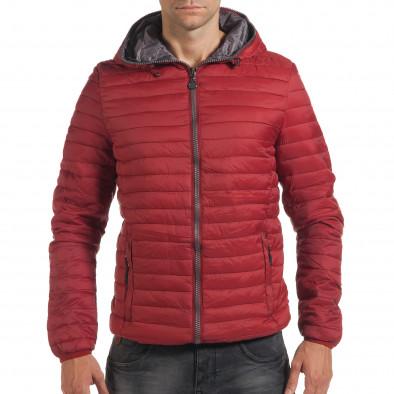 Мъжко червено пролетно-есенно яке с хоризонтални шевове it190616-12 2