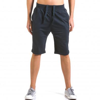 Мъжки сини шорти с кожени детайли it160316-20 2