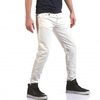 Мъжки бели дънки изчистен модел it090216-24 4