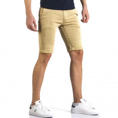 Мъжки жълти къси панталони с малки ромбчета it110316-45 4