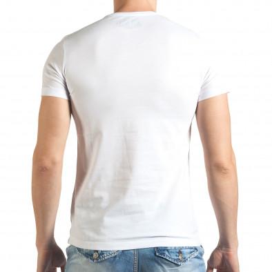 Бяла мъжка тениска с голяма щампа отпред Just Relax 4