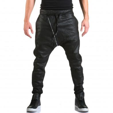 Мъжки черни потури с ефект на змийска кожа Top Star 5