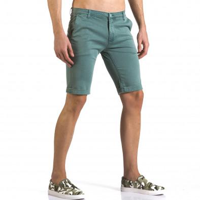 Мъжки зелени къси панталони с малки ромбчета it110316-47 4