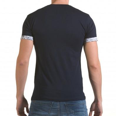 Мъжка синя тениска с джоб на гърдите il170216-49 3