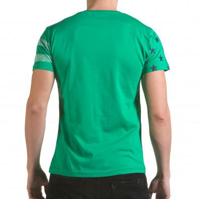Мъжка зелена тениска с бели ленти il170216-11 3