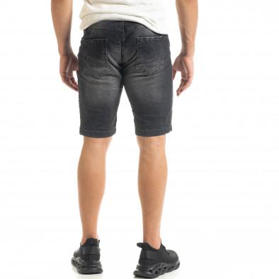 Washed мъжки черни къси дънки tr140520-1 3
