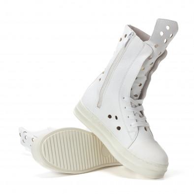 Дамски летни боти в бяло с декоративни дупки it240118-29 5