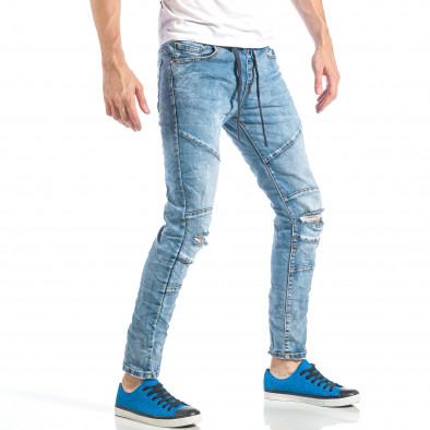 Рокерски сини мъжки дънки с ластик it040518-5 4