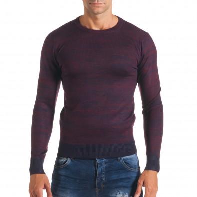 Мъжки лилав пуловер с обло деколте it170816-13 2