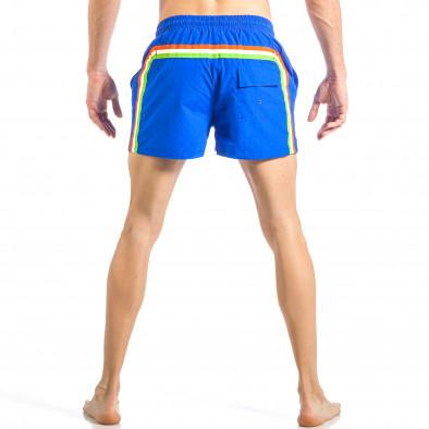 Мъжки син бански с трицветна лента it040518-91 4