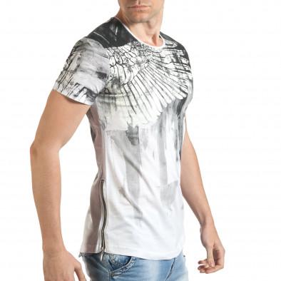 Мъжка бяла тениска с як принт и странични ципове tsf140416-4 4