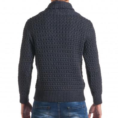 Мъжки синьо-сив зимен пуловер със закопчаване на яката it170816-20 3