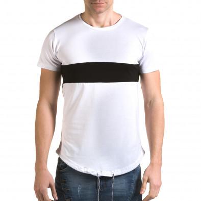 Мъжка бяла издължена тениска с черна лента it090216-67 2