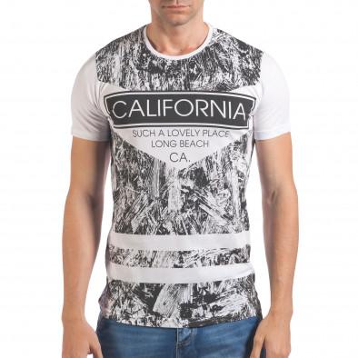 Мъжка бяла тениска с надпис California il060616-63 2