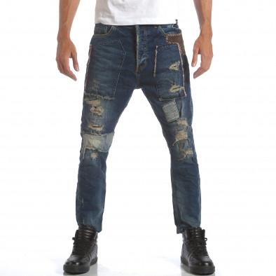 Мъжки дънки с големи декоративни кръпки it160817-60 2