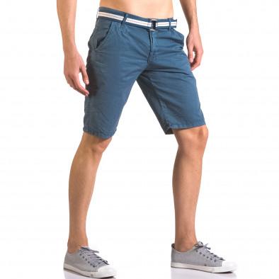 Мъжки син къс панталон с текстилен колан Top Star 5
