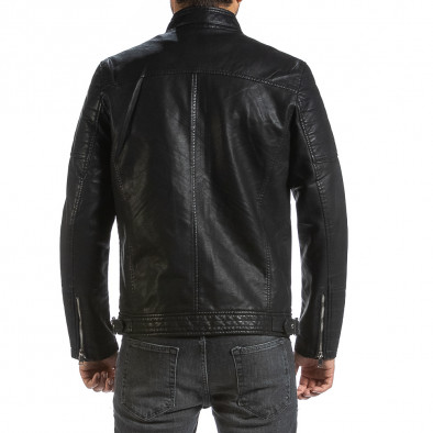 Мъжко черно кожено яке в рокерски стил il070921-33 4