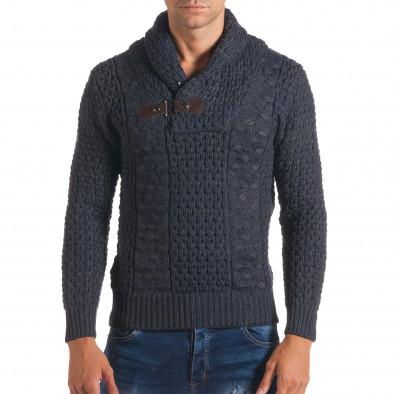 Мъжки синьо-сив зимен пуловер със закопчаване на яката it170816-20 2