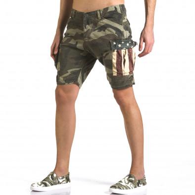 Мъжки къси панталони светло зелен камуфлаж it110316-56 4