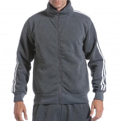 Мъжки тъмно сив спортен комплект с бели ленти it160817-73 4
