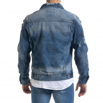 Мъжко синьо дънково яке с прокъсвания it110320-4 4