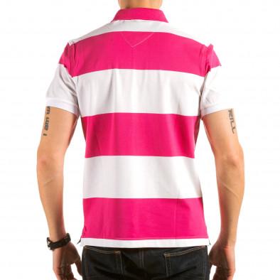Мъжка розово-бяла тениска с яка il180215-114 3