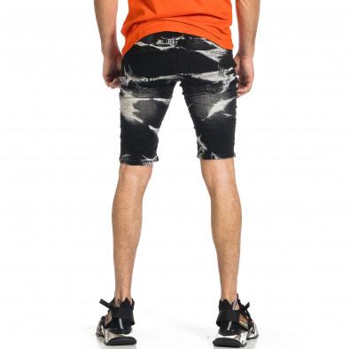 Destroyed Bleach черни къси дънки с аксесоар gr270421-21 3
