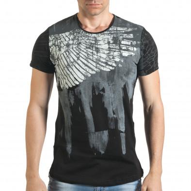 Мъжка черна тениска с як принт и странични ципове tsf140416-5 2