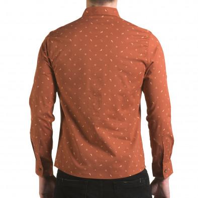 Мъжка кафява риза с котвички и китове il170216-96 3