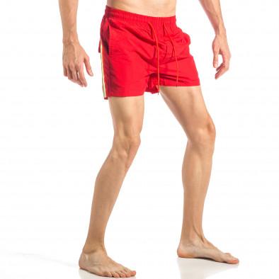Мъжки червен бански с трицветна лента it040518-95 3
