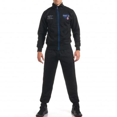Мъжки черен спортен комплект с надписи it160916-73 2