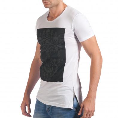 Мъжка бяла тениска с черепи отпред il060616-78 4
