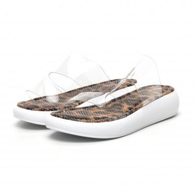 Дамски чехли с прозрачни каишки леопард tr180320-6 3